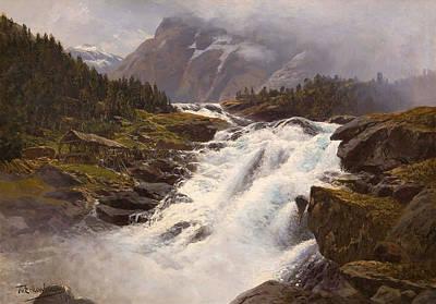 Norwegian Waterfall Painting - Waterfall In Norwegian Mountain Landscape by Themistokles von Eckenbrecher