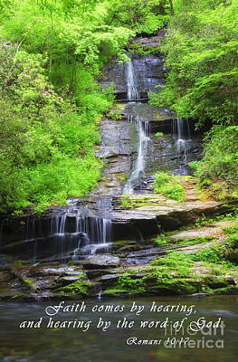 New Testament Photograph - Waterfall In The Spring With Scripture by Jill Lang