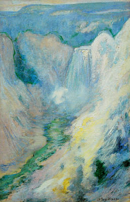 Waterfall In Yellowstone Print by John Henry Twachtman