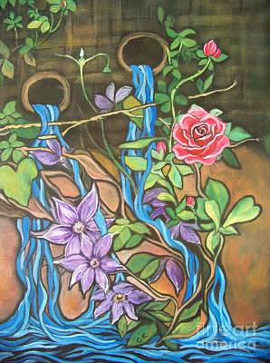 Clematis Painting - The Secret Garden by Cheryl Anne Kennedy