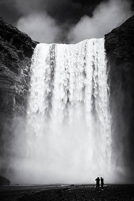 Tons Of Photograph - Waterfall Skogafoss Iceland Black And White by Matthias Hauser