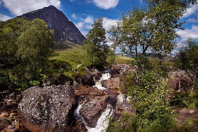 Waterfall Towards Buachaille Etive Mor - Glencoe Print by Niall McWilliam