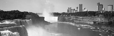 White River Scene Photograph - Waterfall With City Skyline by Panoramic Images