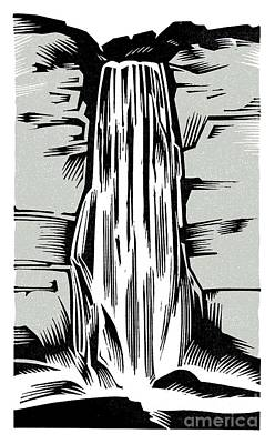 Lino Photograph - Waterfall, Woodcut by Gary Hincks