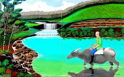 Waterfalls And Man Riding A Carabao Print by Cyril Maza