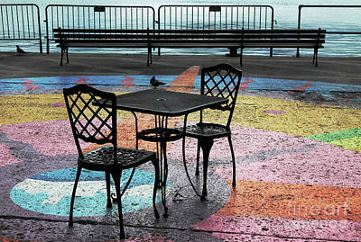 Empty Chairs Photograph - Waterfront Seating by Charline Xia