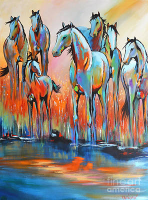 Wild Horse Painting - Watering Hole Iv by Cher Devereaux