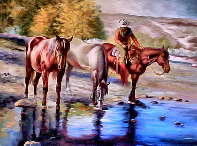 Landscape Painting - Watering The Horses by Studio Artist