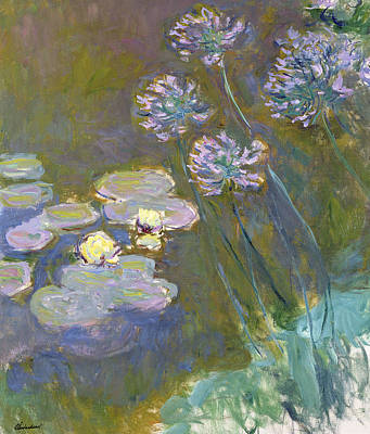 Waterlilies And Agapanthus Print by Claude Monet