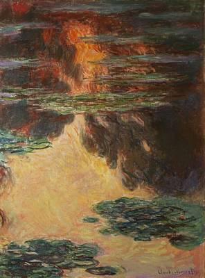 Golden Sunlight Painting - Waterlilies by Claude Monet