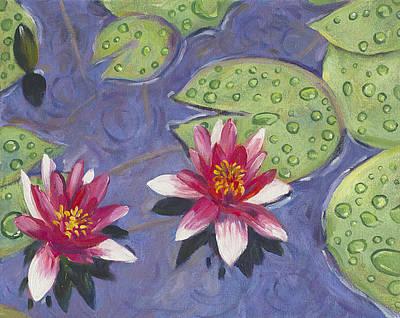 Waterlilies In The Rain Print by David Lloyd Glover