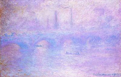 Rowboat Mixed Media - Waterloo Bridge Fog Edited Defects by Claude Monet - L Brown