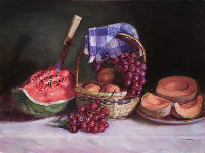 Grapes Painting - Watermelon And Fruit by Walter Lynn Mosley