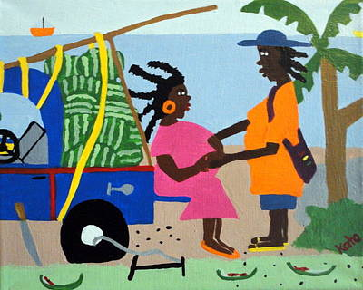 Laundry Painting - Watermelon Delivery by Kato Charles