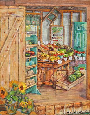 Watermelon Farm Stand Original by Sharon Jordan Bahosh