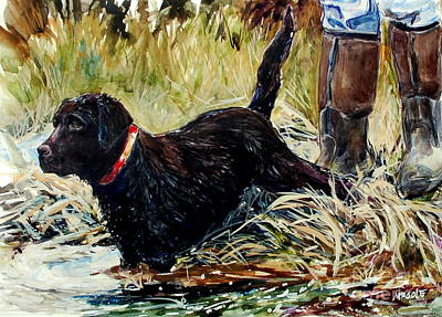 Chocolate Labrador Painting - Water's Edge by Molly Poole