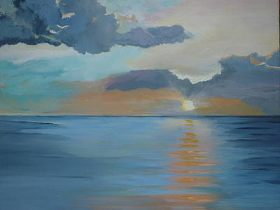 Miami Skyline Painting - Waters Waking At Sunrise by Lori Royce