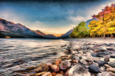 Valleys And Peaks Painting - Waterton Lake In Autumn Colours by Ron Harris