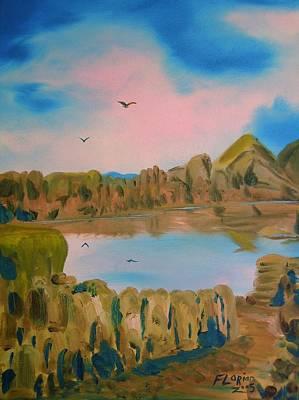 Watson Lake Painting - Watson Lake Prescott Arizona by J FLoRian Dunn