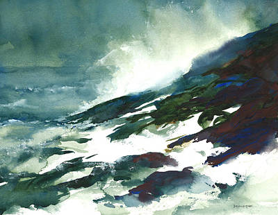Wave And Rocks - Storm On The North Shore Print by William Beaupre