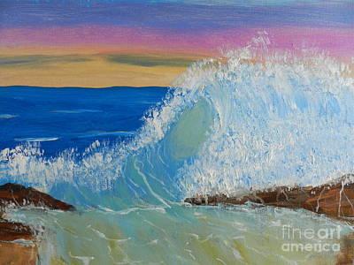 Wave At Sunrise Print by Pamela  Meredith