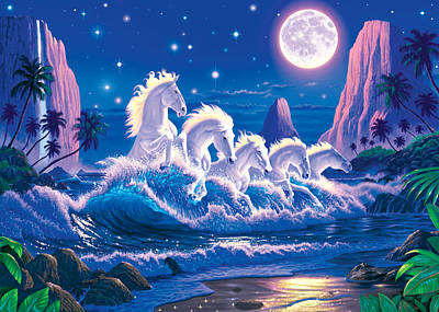 Wave Of Horses Print by Chris Heitt