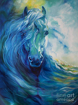 Beach Oil Painting - Wave Runner Blue Ghost Equine by Marcia Baldwin
