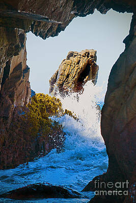Wave Through The Cave At Pfiffer Beach In Big Sur Print by Artist and Photographer Laura Wrede