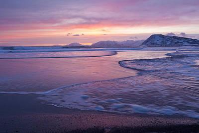 Waves Across A Sand Bar Print by Tim Grams