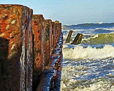 Waves Against The Breakers Print by Dawn Gari