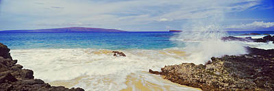 Urban Scenes Photograph - Waves Breaking On The Coast, Maui by Panoramic Images