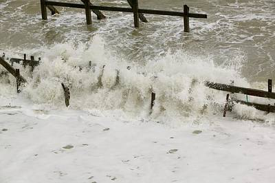 Extreme Weather Photograph - Waves Crashing Against The Sea Defences by Ashley Cooper