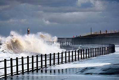 Waves Crashing, Sunderland, Tyne Print by John Short