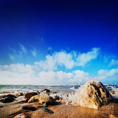 Background Photograph - Waves Hiting Rocks On The Sunny Beach by Michal Bednarek