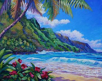 E Painting - Waves On Na Pali Shore by John Clark