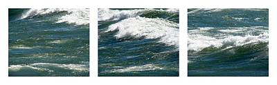 Waves Triptych Ll Print by Michelle Calkins