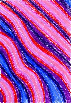 Wavy Oil Pastel Print by Hakon Soreide