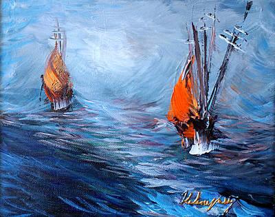 Wavy Sea Print by Helene Khoury Nassif
