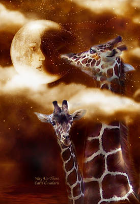 Giraffe Mixed Media - Way Up There by Carol Cavalaris