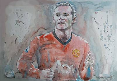 Wayne Rooney Painting - Wayne Ronney - Portrait 1 by Baresh Kebar - Kibar