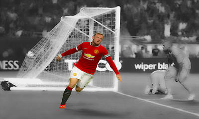 Wayne Rooney Digital Art - Wayne Rooney Scores Again by Brian Reaves