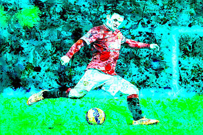 Wayne Rooney Digital Art - Wayne Rooney Splats by Brian Reaves