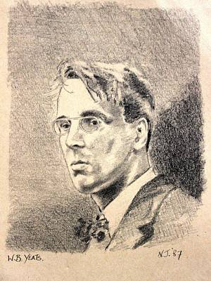 Restaurant Art Drawing - W.b. Yeats by John  Nolan