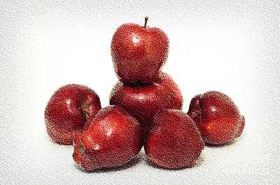 We Are Family - 6 Red Apples - Fresh Fruit - An Apple A Day - Orchard Print by Andee Design