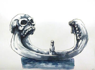 Indian Ink Mixed Media - We Are In The Same Boat by Levente Fazekas