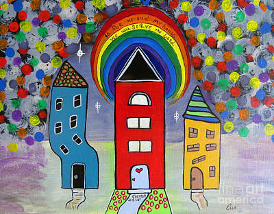 Child Jesus Mixed Media - We Choose To Serve - Original Whimsical Folk Art Painting by Ella Kaye Dickey