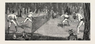 Tennis Drawing - We Find A Jolly Place In The Cemetery Fur Lawn-tennis by English School