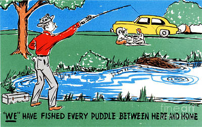 Family Car Drawing - We Have Fished Every Puddle Between Here And Home by Eldon Frye