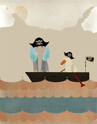 Pirate Ships Painting - We Play Pirates Too by Bri B
