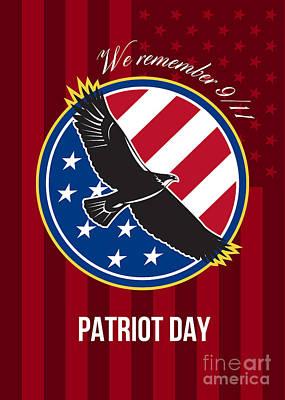 We Remember 911 Patriot Day Retro Poster Print by Aloysius Patrimonio